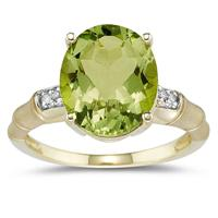 3.97 Carat Peridot and Diamond Ring in 14K Yellow Gold