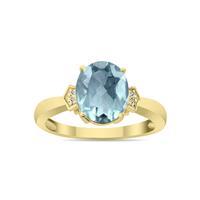 Aquamarine and Diamond Ring in 10K Yellow Gold