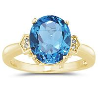 Blue Topaz & Diamond Ring in 10k Yellow Gold