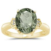 Green Amethyst  & Diamond Ring in 10k Yellow Gold