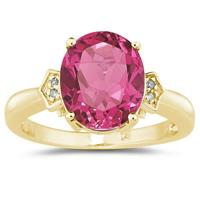 Pink Topaz & Diamond Ring in 10k Yellow Gold