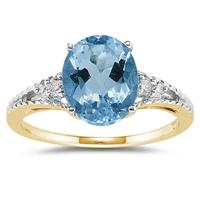 Oval Cut Blue Toapz & Diamond Ring in 14k Yellow Gold