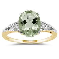 Oval Cut Green Amethyst & Diamond Ring in 14k Yellow Gold