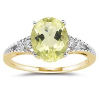 Oval Cut Lemon Quartz & Diamond Ring in 14k Yellow Gold