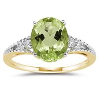 Oval Cut Peridot & Diamond Ring in 14k Yellow Gold