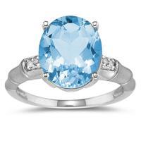 3.97 Carat Blue Topaz and Diamond Ring in 14K White Gold