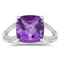 Cushion Cut Amethyst and Diamond Ring 10k White Gold