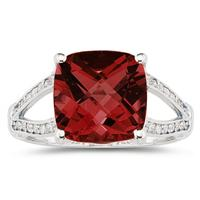 Cushion Cut Garnet and Diamond Ring 10k White Gold