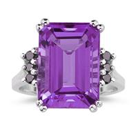 Emerald  Cut Amethyst and Black Diamond Ring 10k White Gold