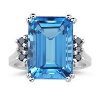 Emerald  Cut Blue Topaz and Black Diamond Ring 10k White Gold.