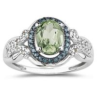 Green Amethyst and Blue and White Diamond Ring in 10K White Gold