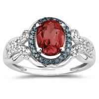 Garnet and Blue and White Diamond Ring in 10K White Gold