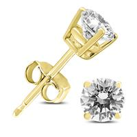 AGS Certified 14K Yellow Gold 3/4 Carat TW Round Diamond Solitaire Stud Earrings