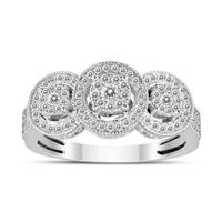1/2 Carat TW Three Stone Halo Cluster Diamond Ring in 14K White Gold