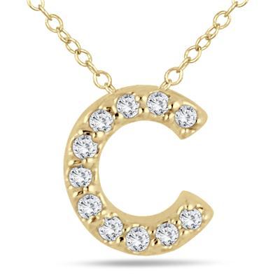 1/10 Carat TW C Initial Diamond Pendant in 10K Yellow Gold