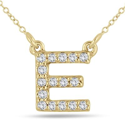 1/10 Carat TW E Initial Diamond Pendant in 10K Yellow Gold