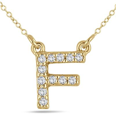 1/10 Carat TW F Initial Diamond Pendant in 10K Yellow Gold