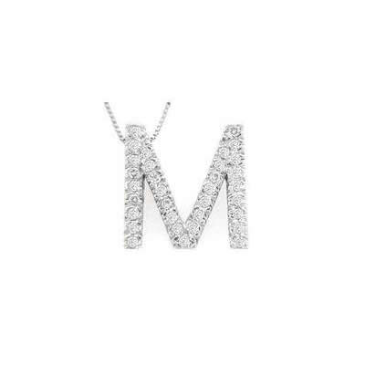 Alphabet M Diamond Initial Pendant in 14k White Gold