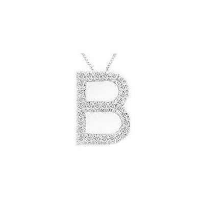 Alphabet B Diamond Initial Pendant in 14k White Gold