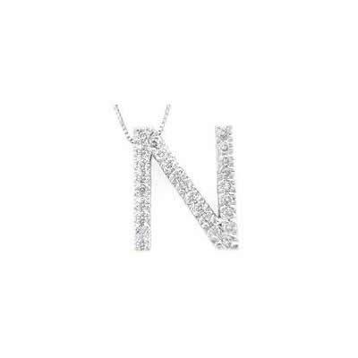 Alphabet N Diamond Initial Pendant in 14k White Gold