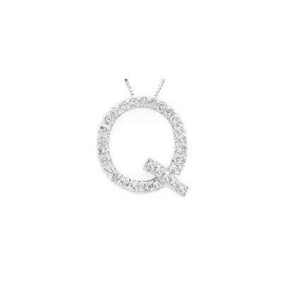 Alphabet Q Diamond Initial Pendant in 14k White Gold
