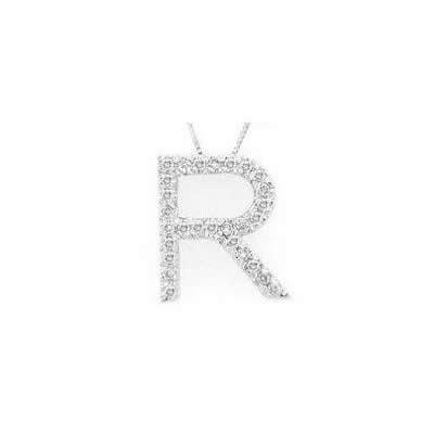 Alphabet R Diamond Initial Pendant in 14k White Gold