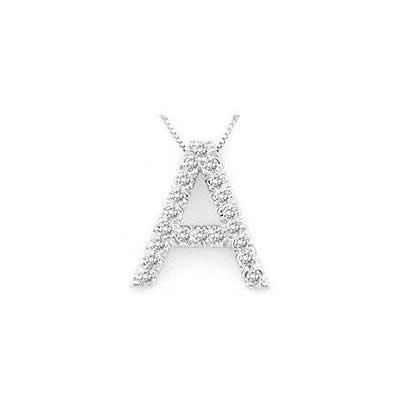 Alphabet A Diamond Initial Pendant in 14k White Gold
