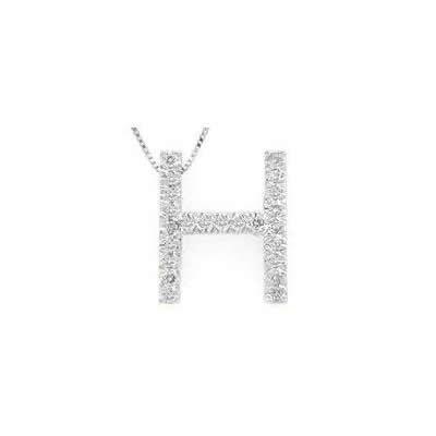 Alphabet H Diamond Initial Pendant in 14k White Gold