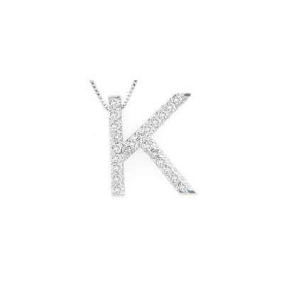Alphabet K Diamond Initial Pendant in 14k White Gold