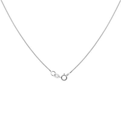 "14K White Gold 18"" Box Chain Spring Ring Clasp"