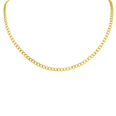 10K Yellow Gold 4.4mm Light Curb Chain with Lobster Clasp - 20 Inch