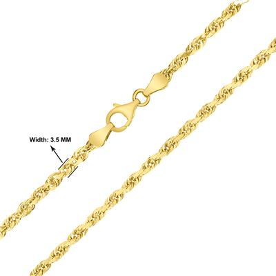 10K Yellow Gold 3.5mm Classic Diamond Cut Twisted Rope Chain with Lobster Clasp - 20 Inch