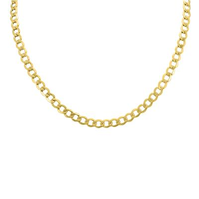 14K Yellow Gold 6.2mm Diamond Cut Lightweight Curb Chain with Lobster Clasp - 20 Inch