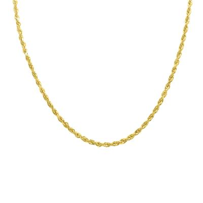 14K Yellow Gold 3.5mm Classic Diamond Cut Twisted Rope Chain with Lobster Clasp - 18 Inch