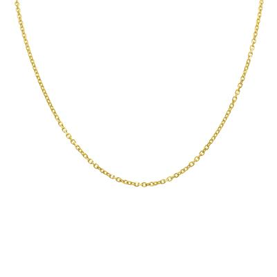 14K Yellow Gold 2.3mm Diamond Cut Oval Cable Chain with Lobster Clasp - 20 Inch
