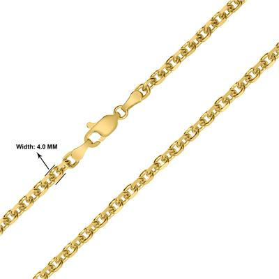 14K Yellow Gold 4mm Diamond Cut Classic Oval Cable Chain with Lobster Clasp - 18 Inch