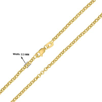 14K Yellow Gold 2.3mm Round Rolo Chain with Lobster Clasp - 18 Inch