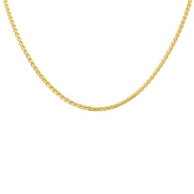 14K Yellow Gold 3.3mm Shiny Hollow Wheat Chain with Lobster Clasp - 18 Inch