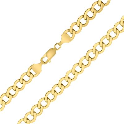 10K Yellow Gold 6.1mm Shiny Curb Chain with Lobster Clasp - 20 Inch