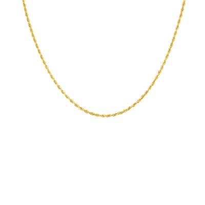 14K Yellow Gold 2.25mm Classic Diamond Cut Twisted Rope Chain with Lobster Clasp - 20 Inch