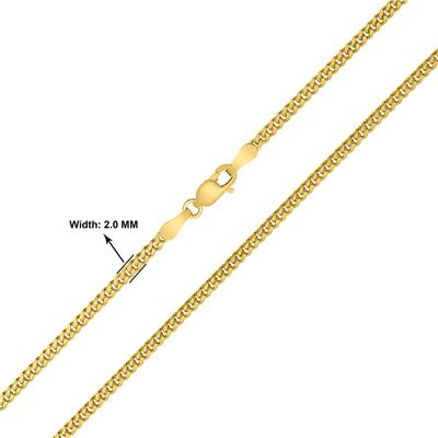 14K Yellow Gold 2mm Shiny Diamond Cut Gormette Chain with Lobster Clasp - 18 Inch