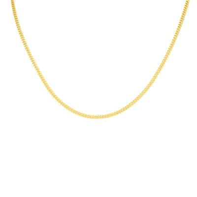 14K Yellow Gold 3mm Diamond Cut Gourmette Chain with Lobster Clasp - 18 Inch