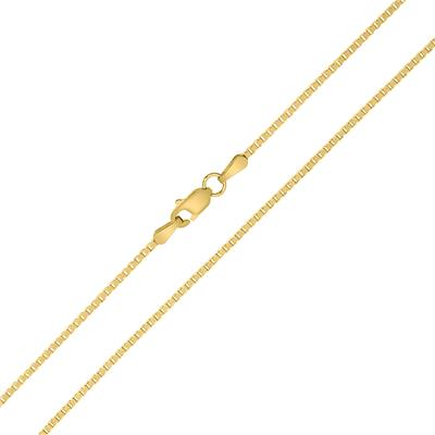 14K Yellow Gold 1.1mm Shiny Square Link Classic Box Chain with Lobster Clasp - 22 Inch