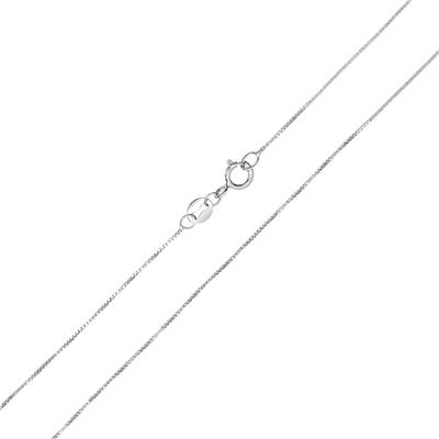 10k White Gold 0.6mm Classic Box Chain with Spring Ring Clasp - 18 Inch