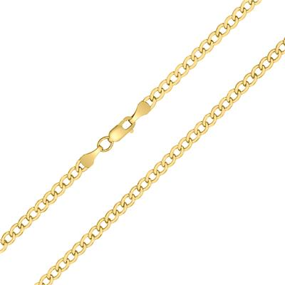 14K Yellow Gold Filled 3.3MM Curb Link Chain with Lobster Clasp - 24 INCH