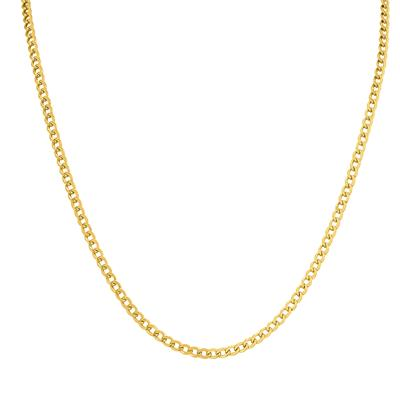 14K Yellow Gold Filled 3.3MM Curb Link Chain with Lobster Clasp - 22 INCH