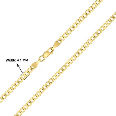14K Yellow Gold Filled 4.1MM Curb Link Chain with Lobster Clasp - 24 Inch