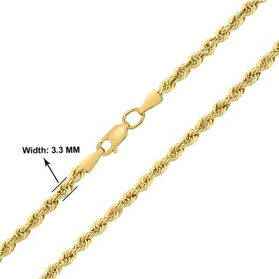 14K Yellow Gold Filled 3.3MM Rope Chain with Lobster Clasp - 36 Inch