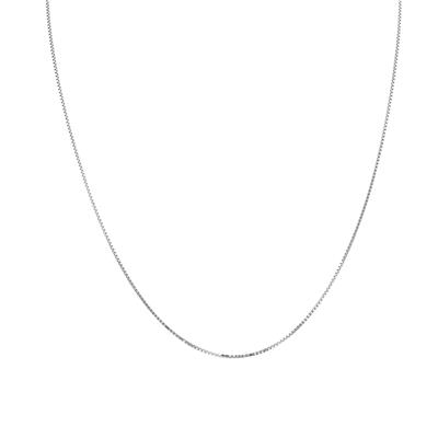 10K White Gold 0.8mm Box Chain with Lobster Clasp - 18 Inch