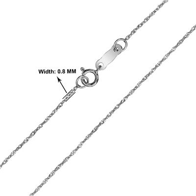 10K White Gold 0.8mm Singapore Chain with Spring Ring Clasp - 18 Inch
